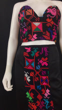 Load image into Gallery viewer, Mexican Fashion Designer Puebla Embroidered Black Pencil Skirt Colores Decor
