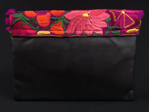 Morad Chiapas Embroidered Leather Clutch Colores Decor