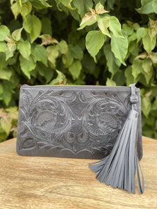 Oot Black Hand Tooled Leather Clutch