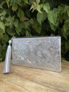 Oot Platinum Hand Tooled Leather Clutch