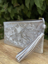 Load image into Gallery viewer, Oot Platinum Hand Tooled Leather Clutch