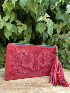 Oot Red Hand Tooled Leather Clutch