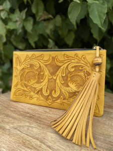 Oot Yellow Hand Tooled Leather Clutch
