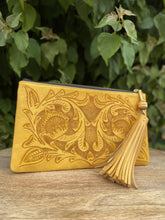 Load image into Gallery viewer, Oot Yellow Hand Tooled Leather Clutch