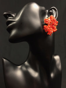 Orange Tsakapu Unique Mexican Handmade Trendy Womens Bead Earrings