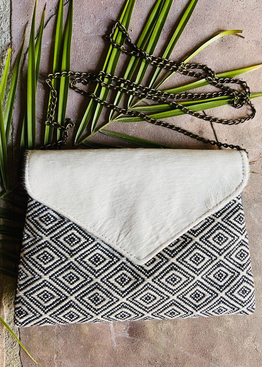 Palomo Embroidered Cowhide Clutch Colores Decor