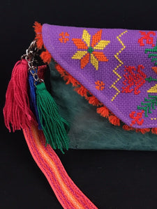 Tenek Embroidered Leather Clutch Colores Decor