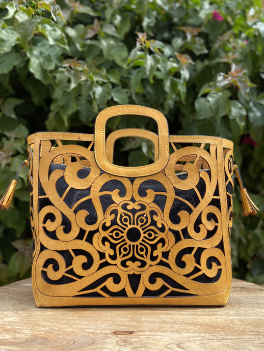 Hand Tooled Tote- Tlali Camel Mexican Artisan Leather Tote Handbag