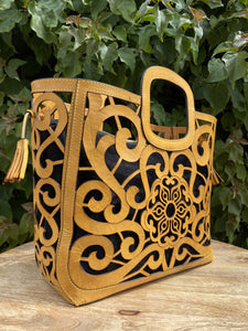 Tlali Camel Hand Tooled Leather Tote