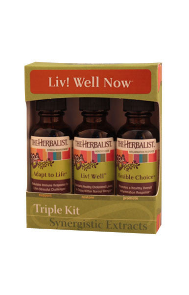 LIV! WELL NOW Liquid Extract Triple Kit for Stress, Inflammation and Poor Fat Metabolism