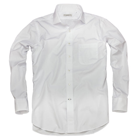 Litchfield Broadcloth <br> Spread Collar Shirt <br> White