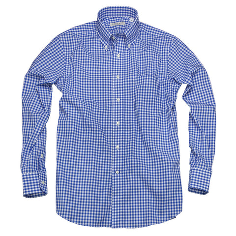 Litchfield Gingham <br> Button Down Shirt <br> Mid Blue