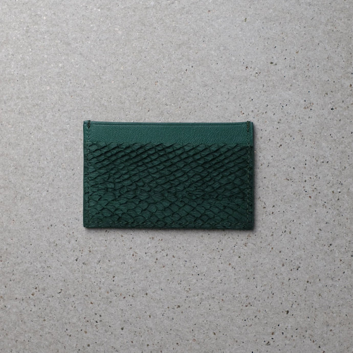 Sibirien stockholm salmon leather minimalist card holder green