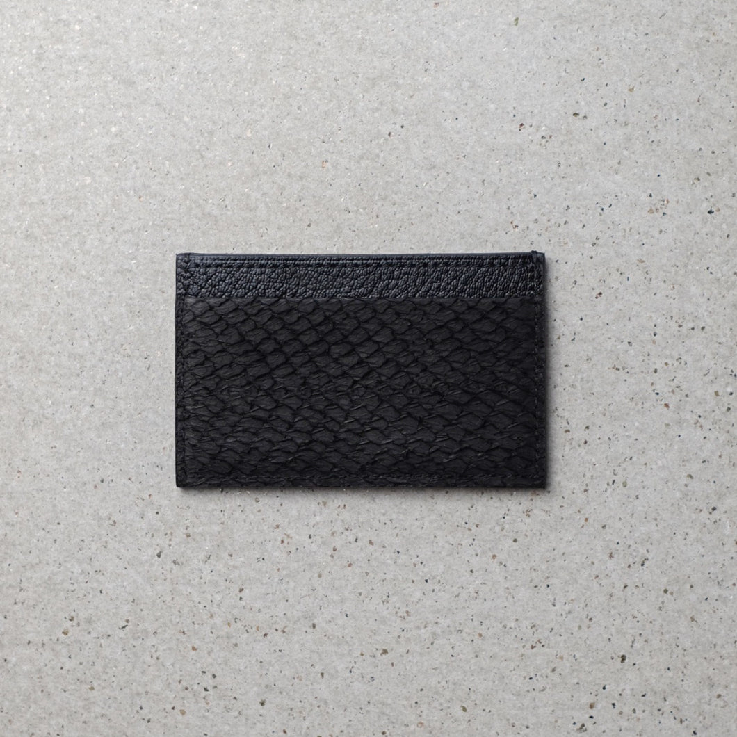 Sibirien stockholm salmon leather minimalist card holder black