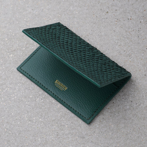 Sibirien stockholm salmon leather card holder green
