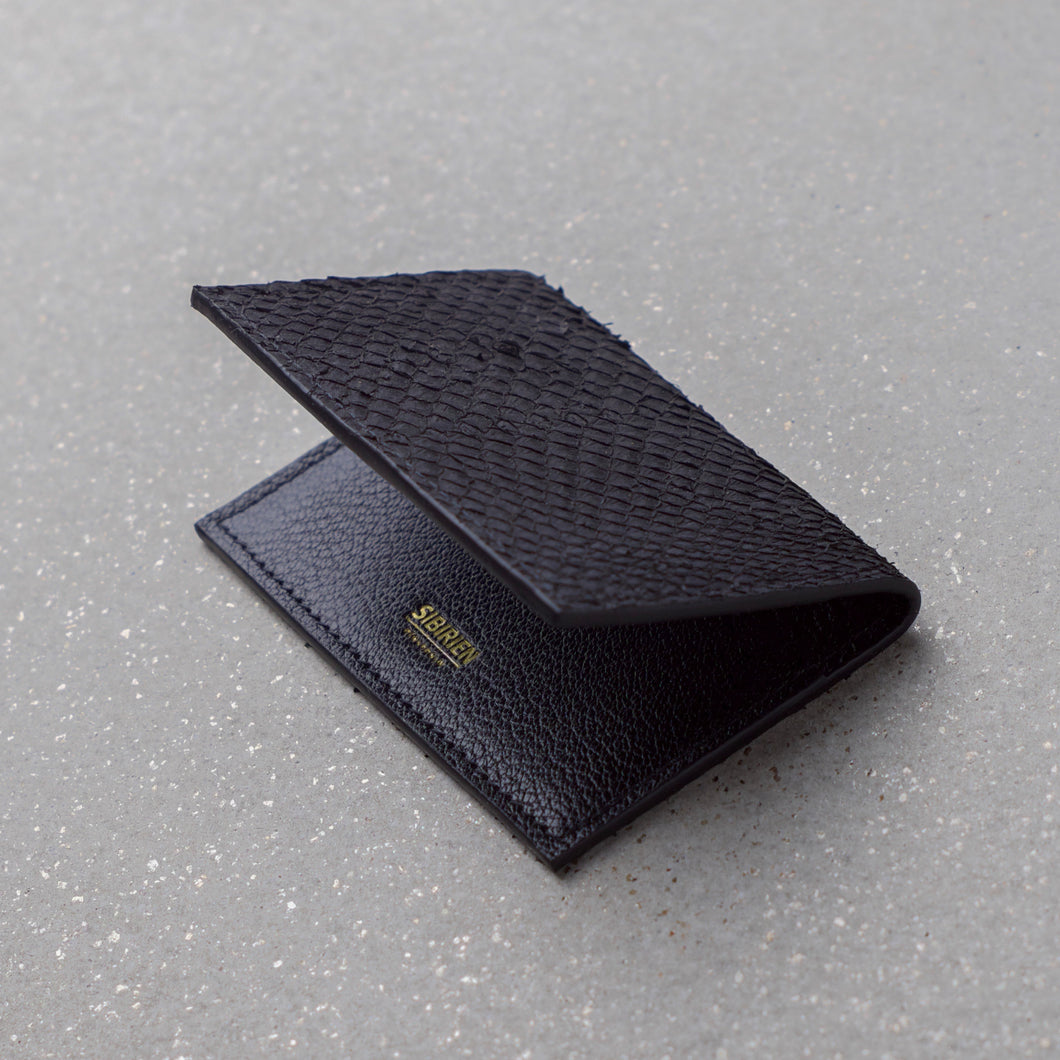 Sibirien stockholm salmon fish leather card holder black