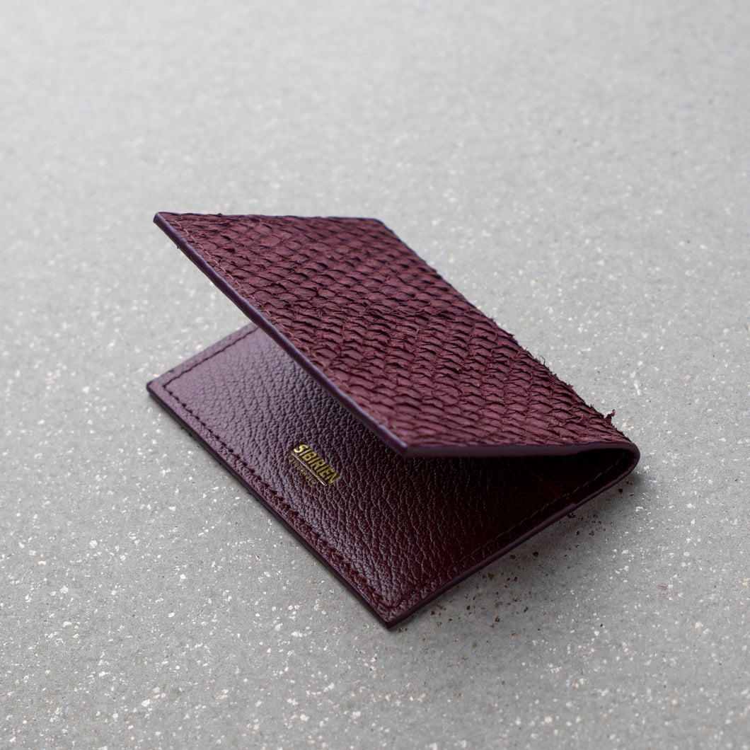 Sibirien stockholm salmon fish leather card holder Bordeaux