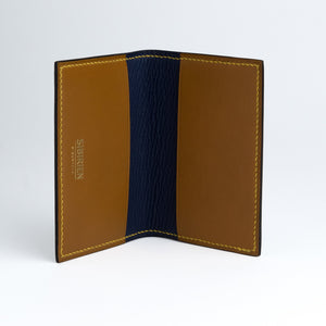 Marine blue and cognac Card wallet