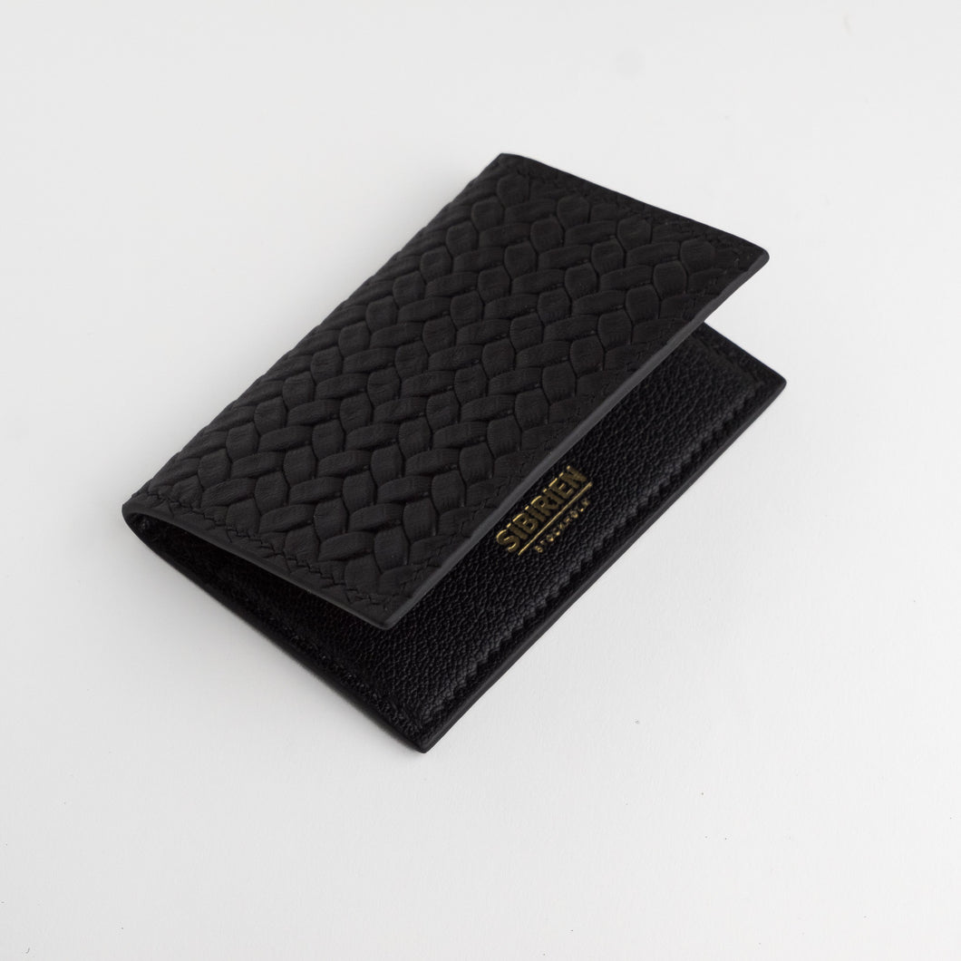 Black braided leather card wallet