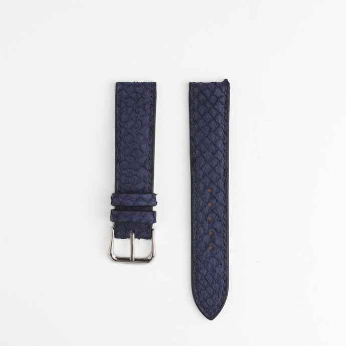 Sibirien stockholm salmon leather watch strap marine blue