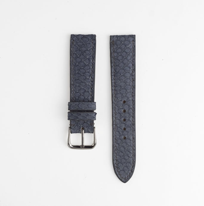 Sibirien Stockholm salmon leather watch strap gray and blue