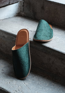 Salmon leather slippers Green