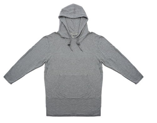 Elongated French Terry Hoodie Grey