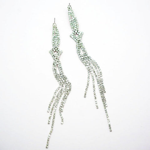 Draping Diamond Rhinestone Shoulder Duster Earrings