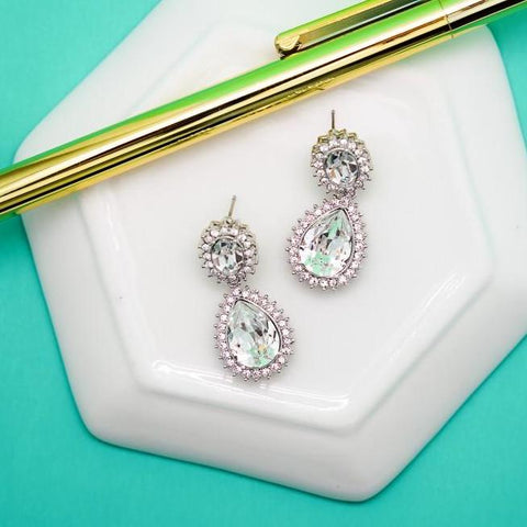 Diamond Rhinestone Oval Drop Earrings