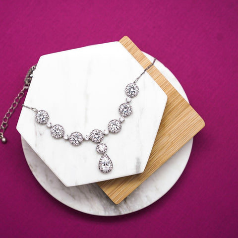 Large Diamond Rhinestone Necklace - 18 Inches