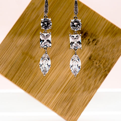 Large Diamond Rhinestone Drop Earrings