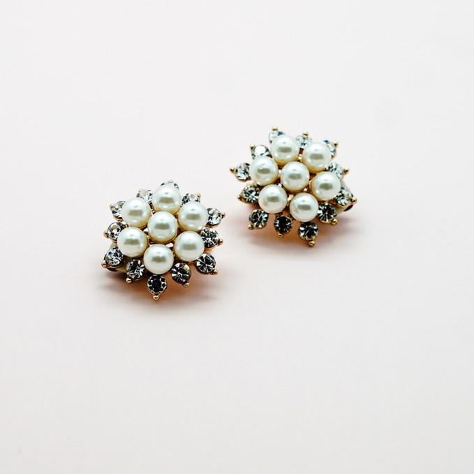 Pearl Cluster Stud Earrings