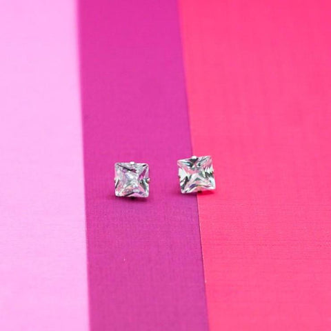 Princess Cut Rhinestone Stud Earrings