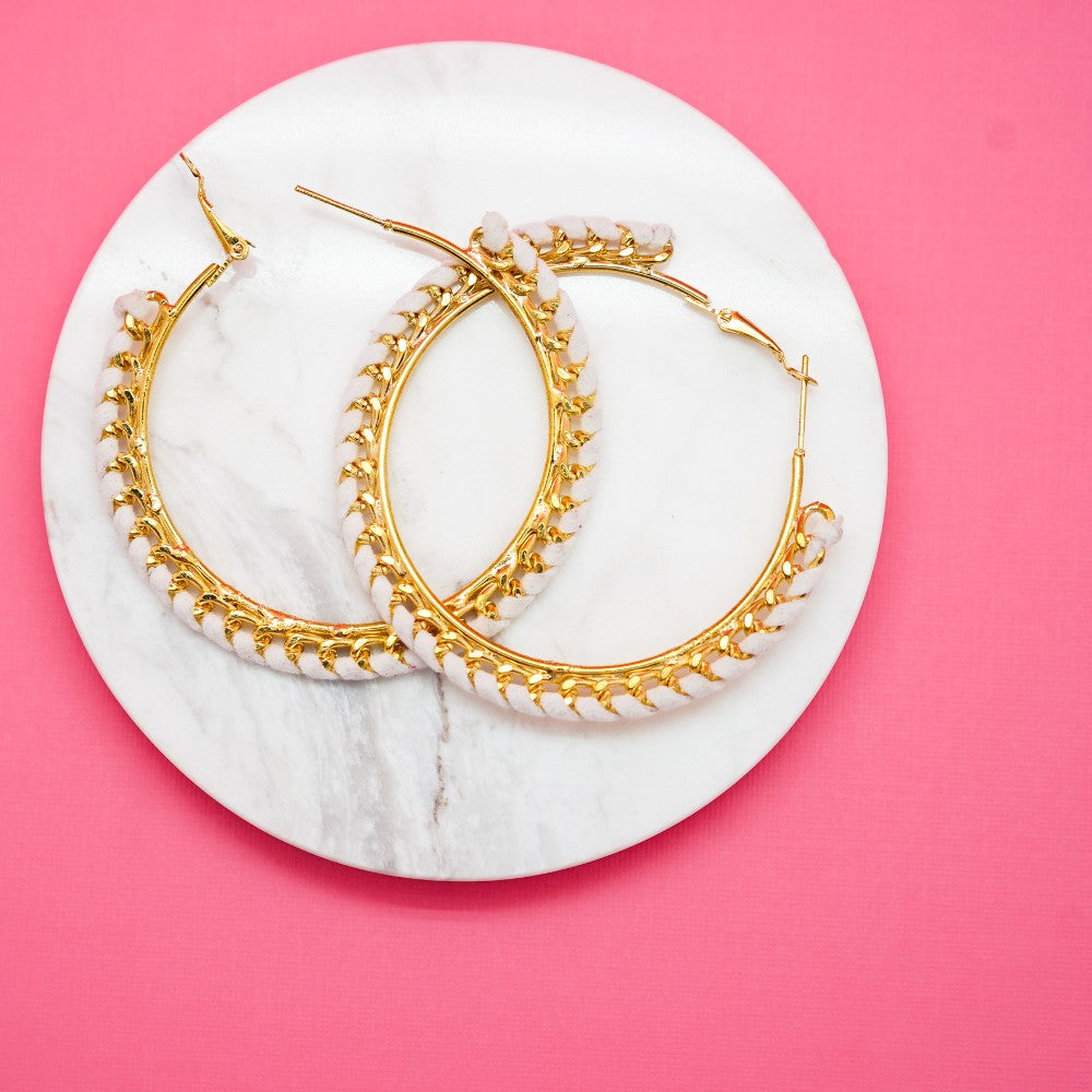White Leather Gold Hoops