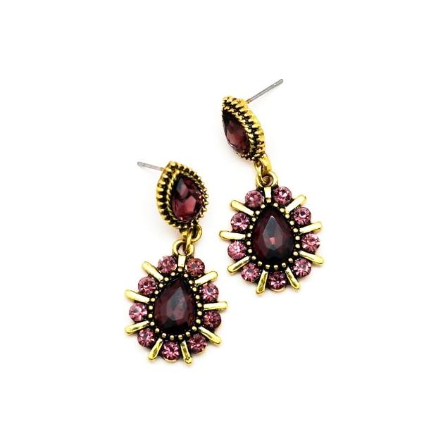 Purple and Gold Geometric Teardrop Earrings