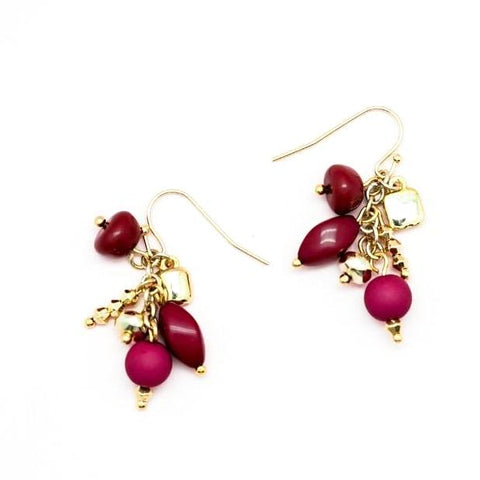 Pink, Red and Gold Bead Dangle Earrrings