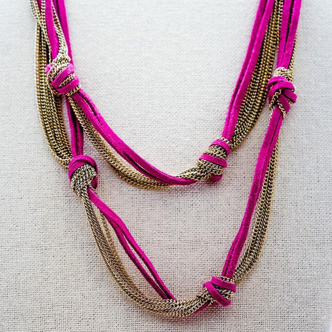 Knotted Pink Cord and Gold Chain Necklace - 24 Inches