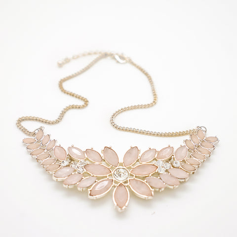 Pink Floral Gemstone Necklace - 18 Inches