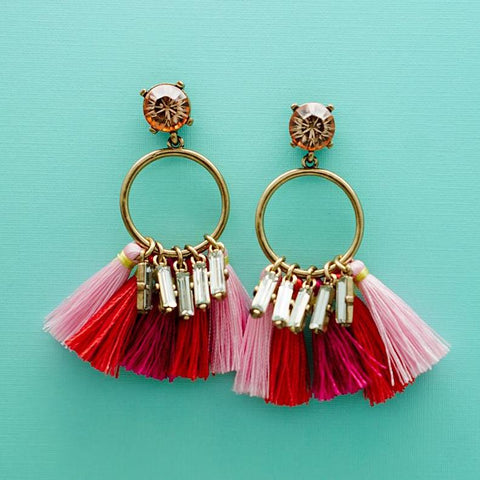 Rhinestone Pink Tassel Earrings