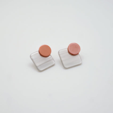 Pink and White Geometric Stud Earrings