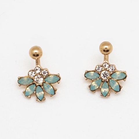 Green Floral Drop Earrings