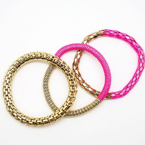 Stackable Pink and Gold Bracelets - Set of 3