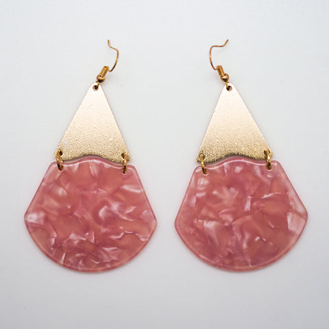 Pink Lucite and Gold Drop Earrings