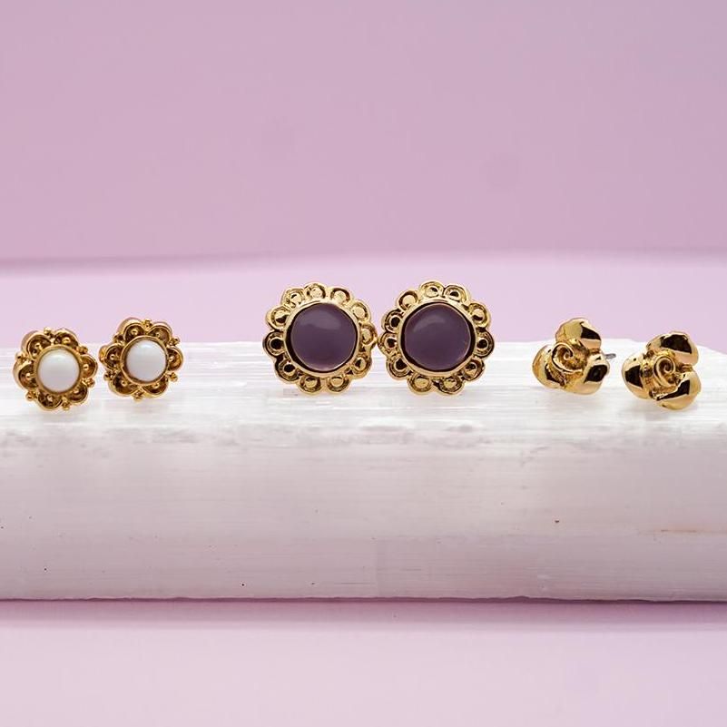 Gold Stud Earring Set
