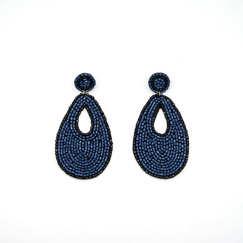 Beaded Blue Drop Earrings