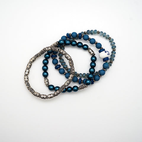 Blue and Silver Beaded Bracelets - Set of 4