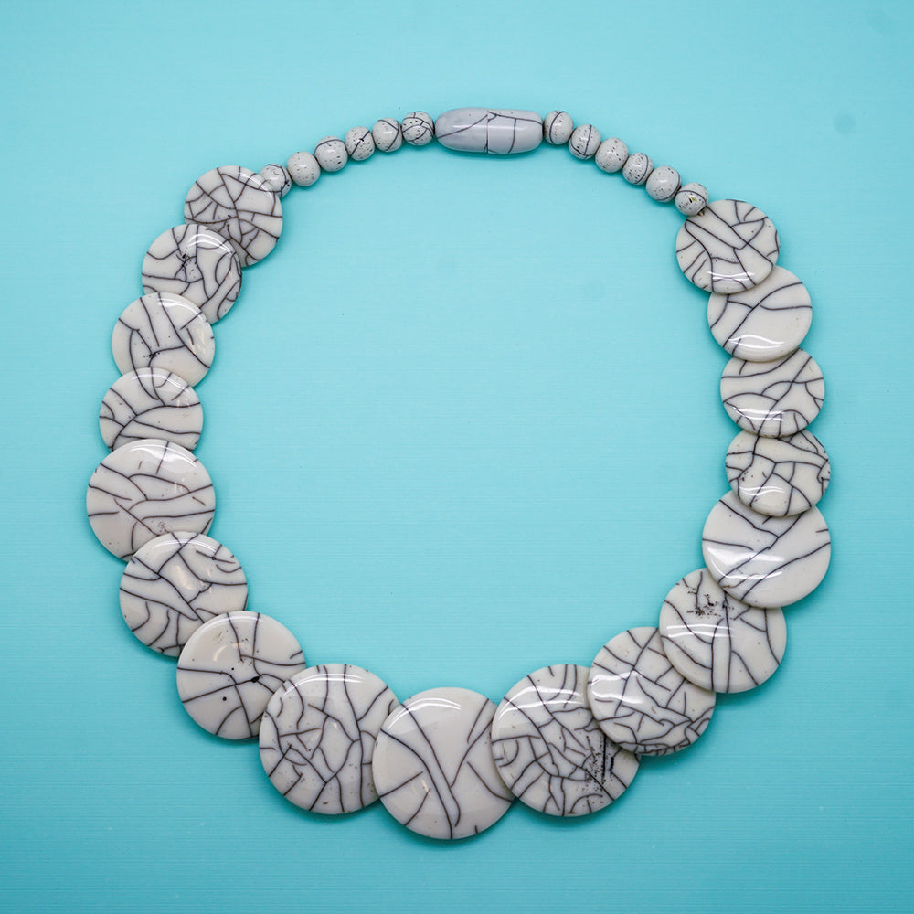 Marbled Lucite Graduated Necklace - 24 Inches