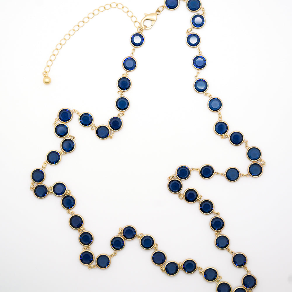 Bezel Set Blue Stone Gold Chain Necklace - 36 Inches 24cdb3879