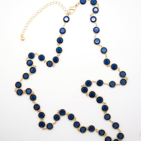 Bezel Set Blue Stone Gold Chain Necklace - 36 Inches
