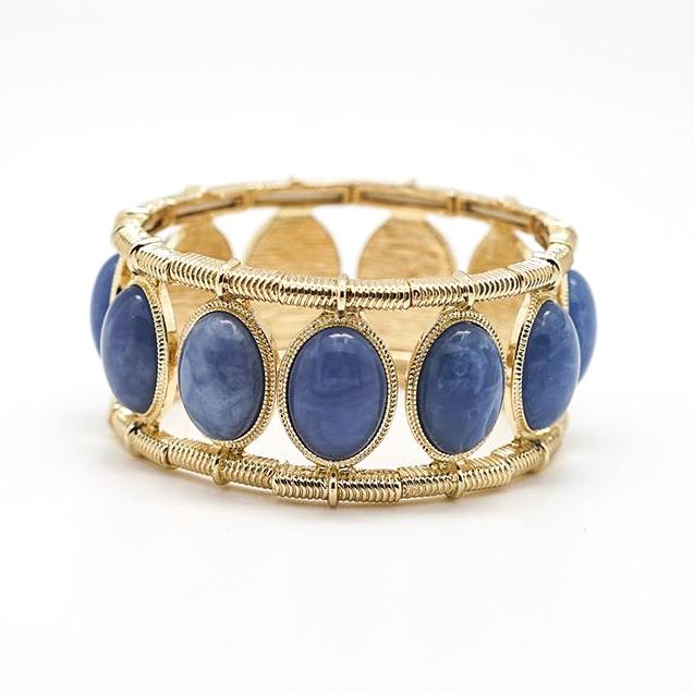 Blue Bezel Gold Stretch Bracelet